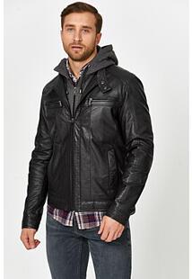Утепленная кожаная куртка с капюшоном Jorg Weber 355542