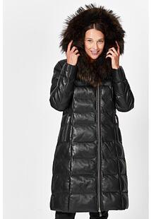 Утепленное пальто из натуральной кожи La Reine Blanche 355528