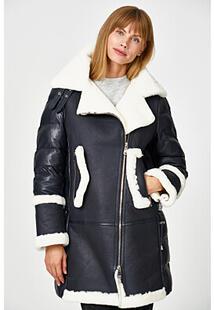 Утепленная кожаная куртка с отделкой овчиной La Reine Blanche 356120