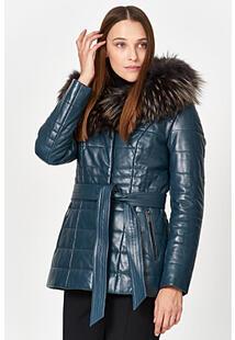 Утепленная кожаная куртка с отделкой мехом енота La Reine Blanche 353910