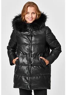 Утепленная кожаная куртка с отделкой мехом енота La Reine Blanche 353623