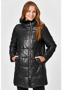 Утепленная кожаная куртка с отделкой мехом кролика La Reine Blanche 353619