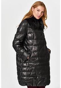 Утепленное кожаное пальто с отделкой мехом енота Vericci 352634