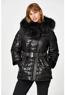 Утепленная кожаная куртка с отделкой мехом енота Vericci 350440