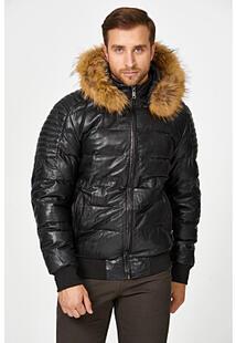 Утепленная кожаная куртка с отделкой мехом енота Urban Fashion for Men 342726