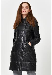 Утепленное кожаное пальто La Reine Blanche 341137