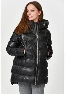 Утепленная кожаная куртка с капюшоном La Reine Blanche 341143