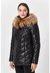 Утепленная кожаная куртка с отделкой мехом енота La Reine Blanche 341620