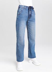 Прямые джинсы с высокой посадкой и шнурком на поясе O`Stin 177355150299