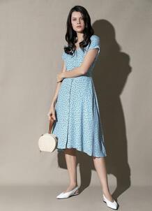 Платье в горошек из креповой вискозы O`Stin 180788840299