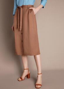 Льняная юбка А-силуэта с поясом O`Stin 180749050299