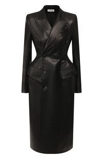 Двубортное пальто из кожи Balenciaga 9773490