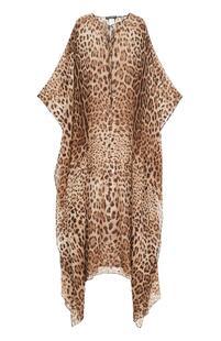 Шелковое платье-макси с леопардовым принтом Dolce&Gabbana 2429991