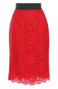 Кружевная юбка-карандаш с разрезом Dolce&Gabbana 2431685
