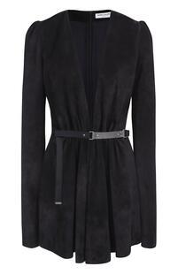 Замшевое мини-платье с глубоким V-образным вырезом и длинным рукавом Yves Saint Laurent 2057574
