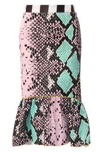 Хлопковая юбка с принтом STELLA JEAN 7346590