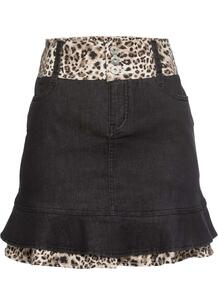 Юбка джинсовая с леопардовой отделкой bonprix 261470347