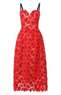 Кружевное платье-миди Oscar de la Renta 7205869