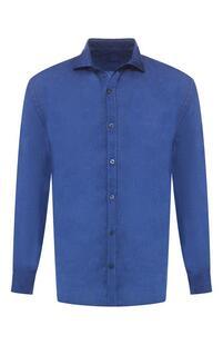 Льняная рубашка с воротником кент 120% LINO 6767277