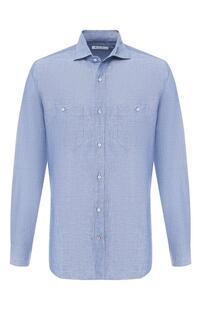 Рубашка из смеси льна и хлопка Loro Piana 8389912