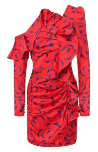 Платье с оборкой и принтом Self Portrait 6635187