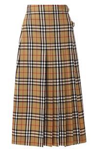 Шерстяная юбка в клетку Burberry 6573734