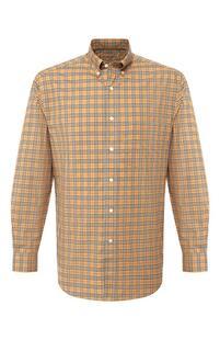 Хлопковая рубашка с воротником button down Burberry 7193367