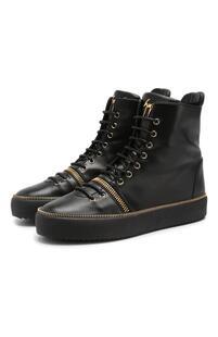 Высокие кожаные кеды на шнуровке Giuseppe Zanotti Design 6486052