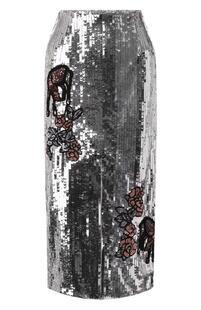 Юбка-миди с пайетками и разрезом MARKUS LUPFER 6496167
