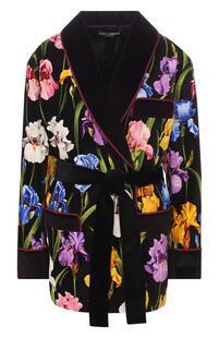 Хлопковый жакет с поясом и принтом Dolce&Gabbana 6516516