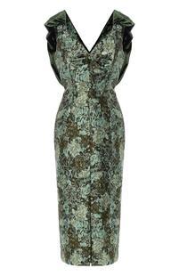 Приталенное платье с V-образным вырезом Erdem 6174314