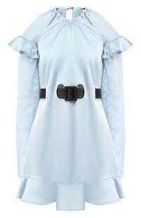 Мини-платье с поясом с оборками Self Portrait 6022547