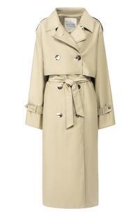 Двубортное хлопковое пальто с поясом WALK OF SHAME 5540975
