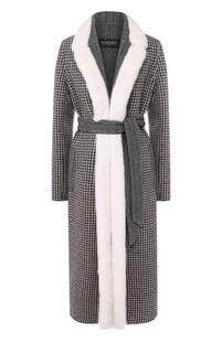 Шерстяное пальто с меховой отделкой SIMONETTA RAVIZZA 5536985