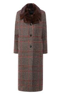 Шерстяное пальто с меховым воротником SIMONETTA RAVIZZA 5564768