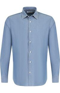 Хлопковая рубашка с воротником кент Loro Piana 5297228