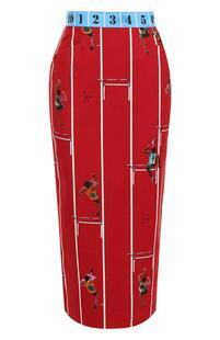 Хлопковая юбка-миди с принтом STELLA JEAN 4847275