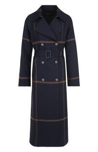 Двубортное шерстяное пальто с поясом Loro Piana 4872139