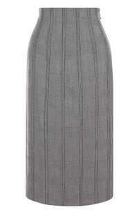 Шерстяная юбка-миди со шнуровкой в клетку Thom Browne 4485634