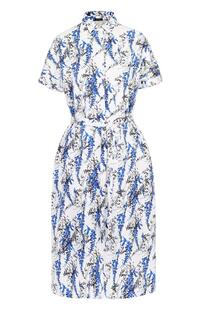 Приталенное платье-рубашка с поясом и ярким принтом Kiton 1909409