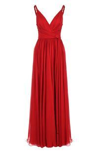 Шелковое платье-макси с V-образным вырезом ZUHAIR MURAD 3969342