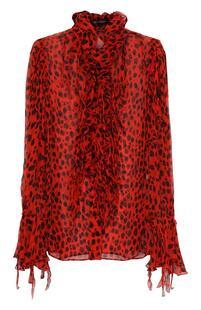 Шелковая блуза с леопардовым принтом и оборками Roberto Cavalli 2182741