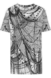 Удлиненная футболка прямого кроя с принтом Alexander McQueen 2123568