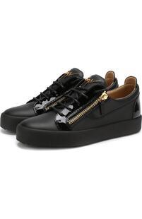 Кожаные кеды Frankie на шнуровке Giuseppe Zanotti Design 3257351