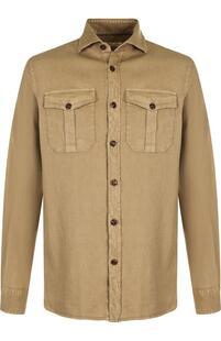 Рубашка из смеси льна и хлопка Loro Piana 3187421