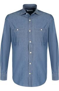 Хлопковая рубашка с воротником кент Loro Piana 3187477