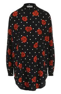 Шелковая блуза свободного кроя с принтом Yves Saint Laurent 3007716