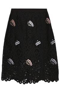 Кружевная мини-юбка с цветочной вышивкой MARKUS LUPFER 2730363