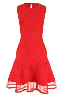 Приталенное мини-платье с прозрачной оборкой Alexander McQueen 2702153