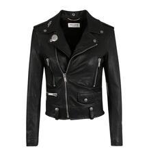 Укороченная кожаная куртка с косой молнией Yves Saint Laurent 2701377